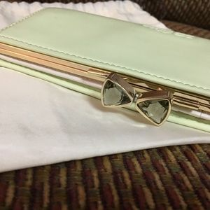 TED BAKER Mint Green Patent Leather Clutch Wallet